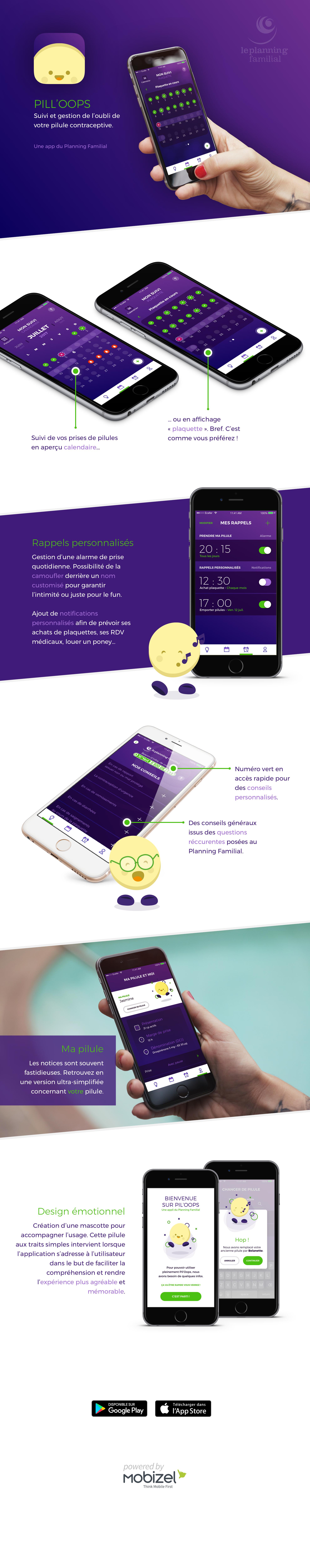 Infographie : Design de Pil'Oops, l'application mobile du Planning familial pour suivre sa pilule contraceptive