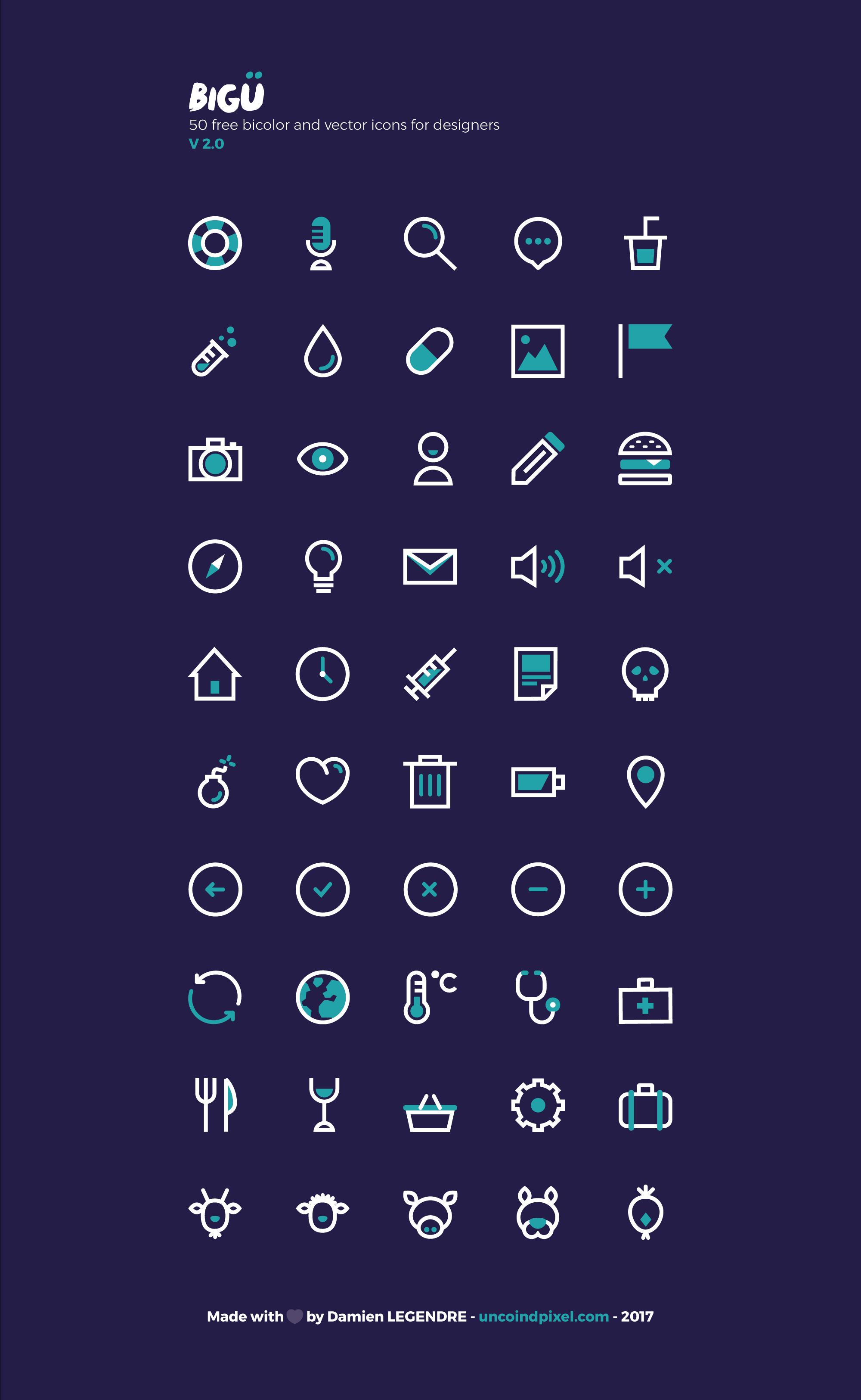 Set d'icônes vectorielles gratuit BIGÜ