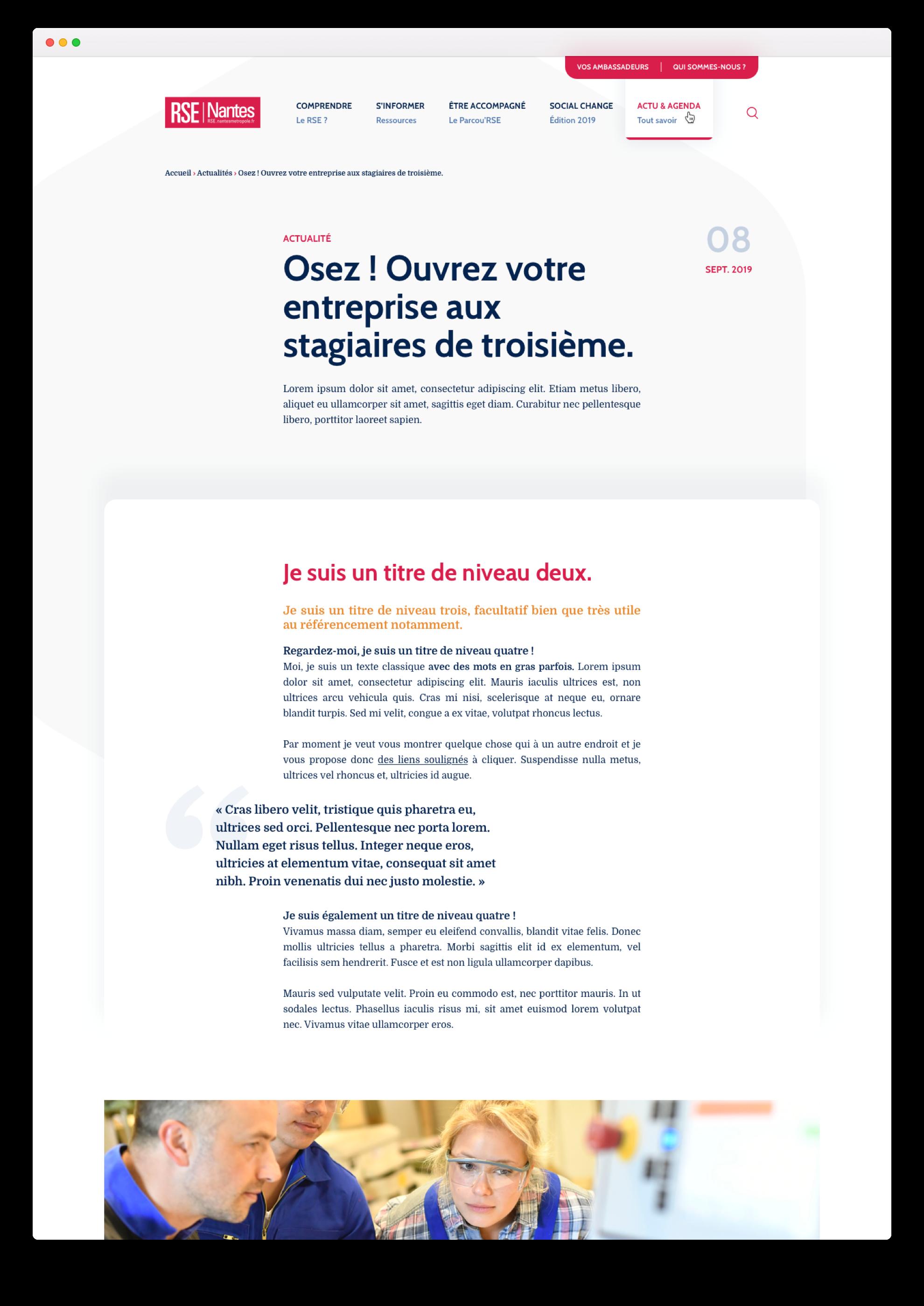 Webdesign d'un article du site sur la RSE de Nantes Métropole