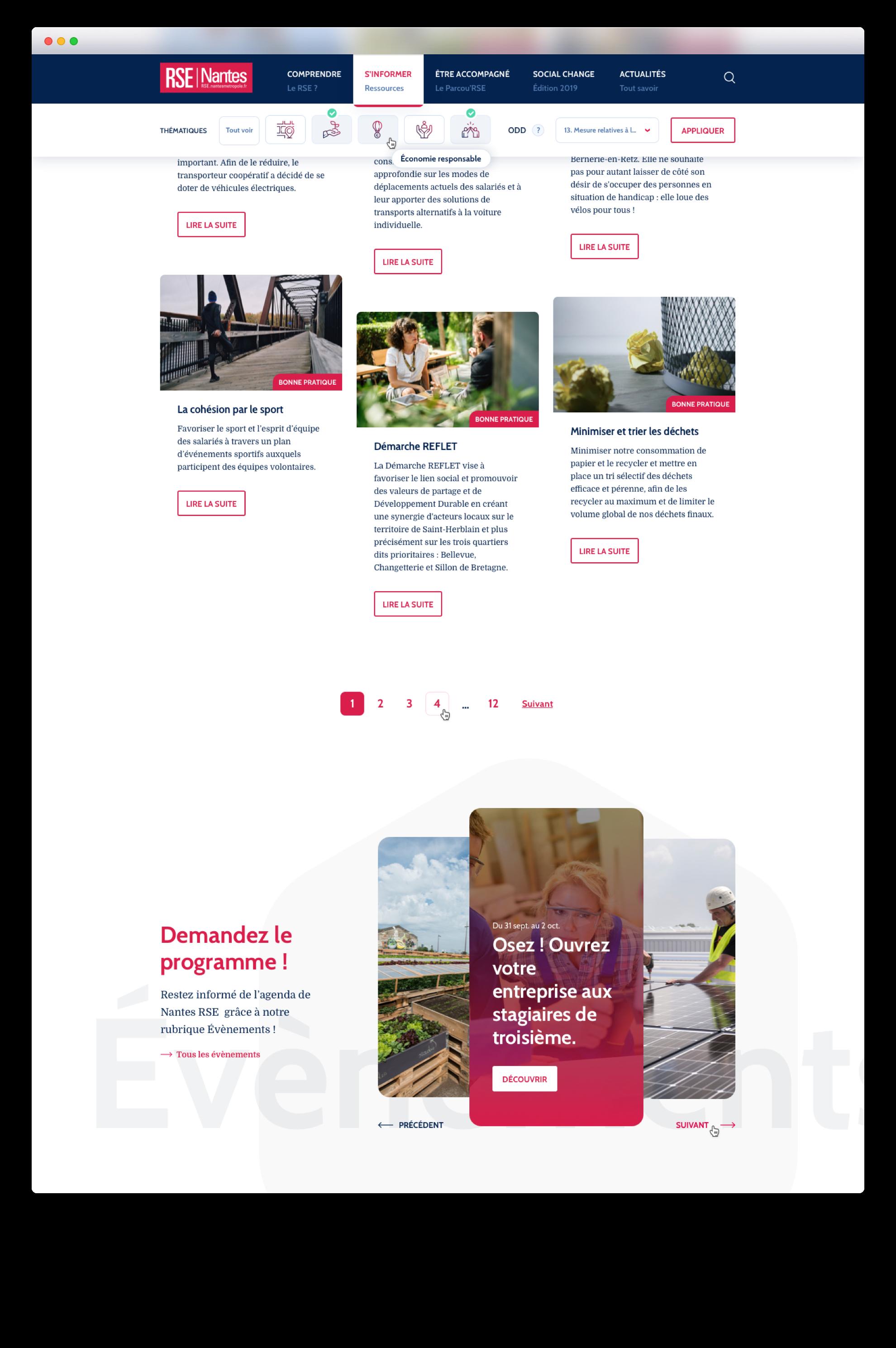 Webdesign de la page des bonnes pratiques de Nantes RSE