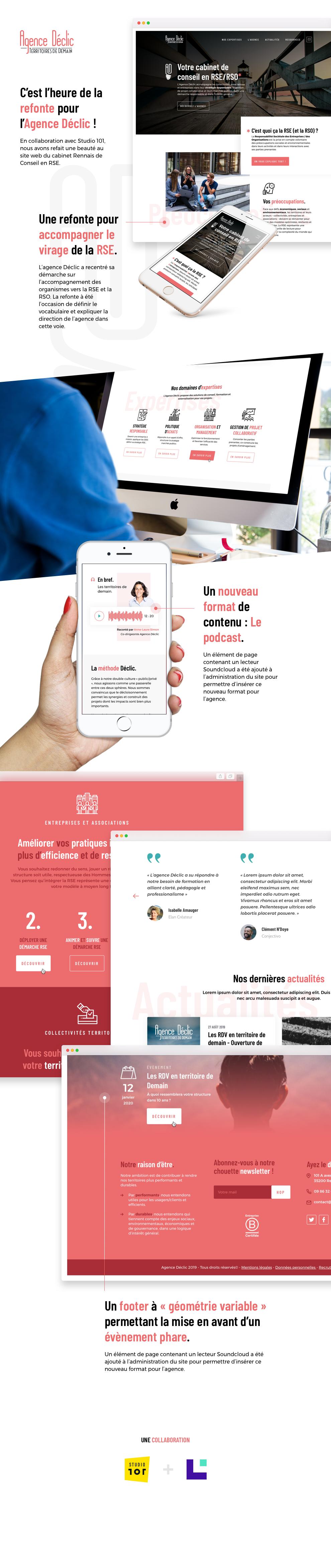 Infographie : Refonte du webdesign de l'Agence Déclic, spécialiste de la RSE.