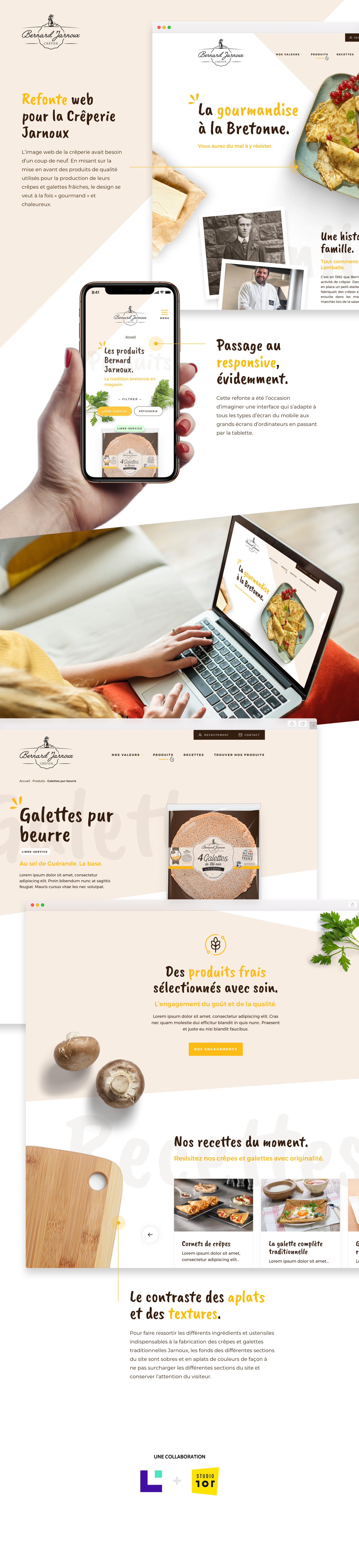 Infographie - refonte webdesign Crêperie Bernard Jarnoux